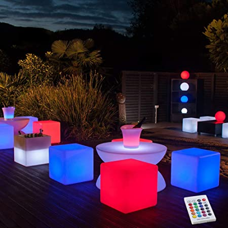 Rechargeable outdoor LED cube multicolour